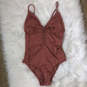 Mauve Ribbed One Piece SwimSuit